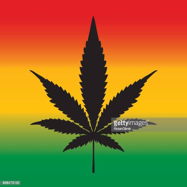 rastafarian marijuana leaf - rastafarian stock illustrations, clip art, cartoons, & icons