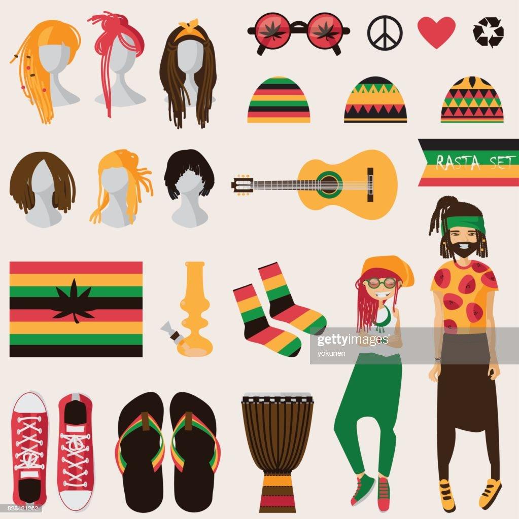 Rastafarian subculture. Couple of young rastaman woman and man