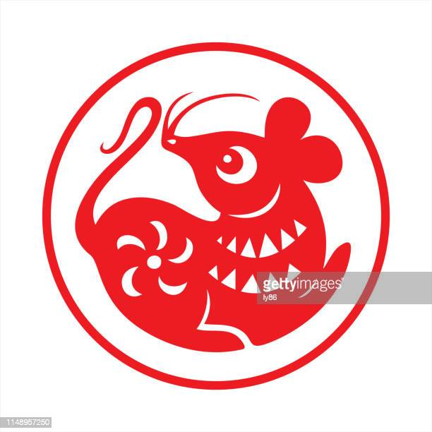 rat papercut, year of the rat, 2020, happy new year, chinese new year - rat stock illustrations, clip art, cartoons, & icons