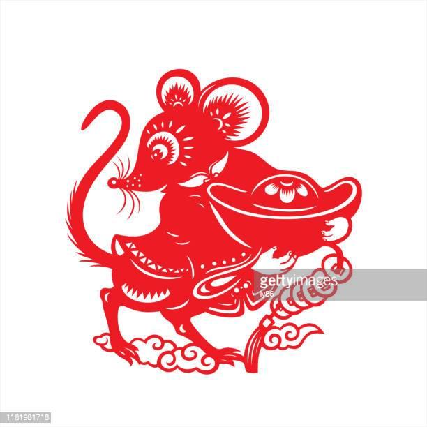 illustrazioni stock, clip art, cartoni animati e icone di tendenza di taglio carta ratto, anno del topo, 2020, felice anno nuovo, capodanno cinese - topolino
