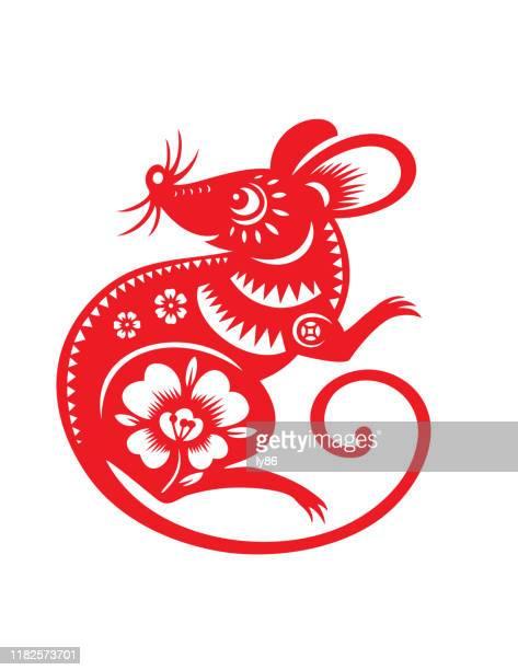 ilustrações de stock, clip art, desenhos animados e ícones de rat papercut, year of the rat, 2020, happy new year, chinese new year - ratazana