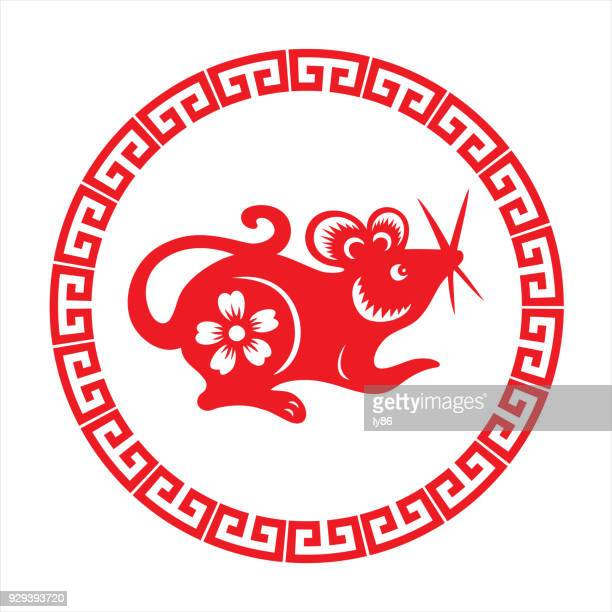 rat, zodiac sign - chinese couplet stock illustrations