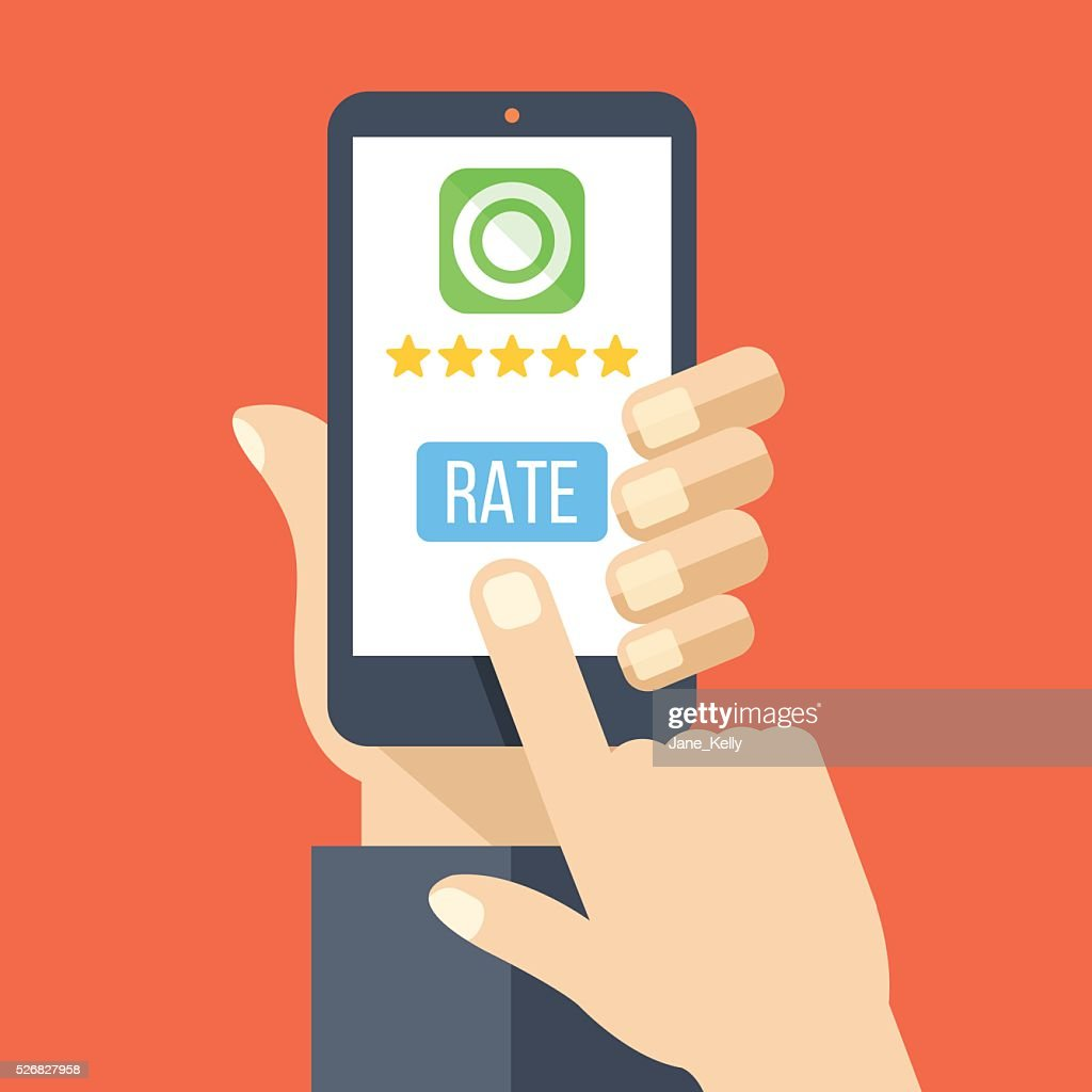 Rate app. Hand holds smartphone with 5 stars, rate button
