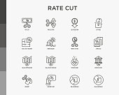 Rate cut thin line icon set: cutting price, cost reduction, sale, discount, receipt, loyalty card, interest. Modern vector illustration.