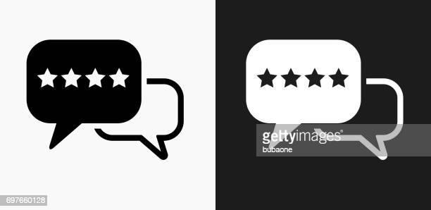 stockillustraties, clipart, cartoons en iconen met rating en review pictogram op zwart-wit vector achtergronden - feedback