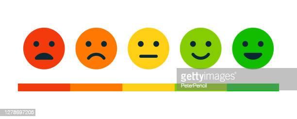bewertungszufriedenheit. set von emotion lächeln - vorzüglich, gut, normal, nicht gut, bett. vektor-stock-illustration - größenunterschied stock-grafiken, -clipart, -cartoons und -symbole
