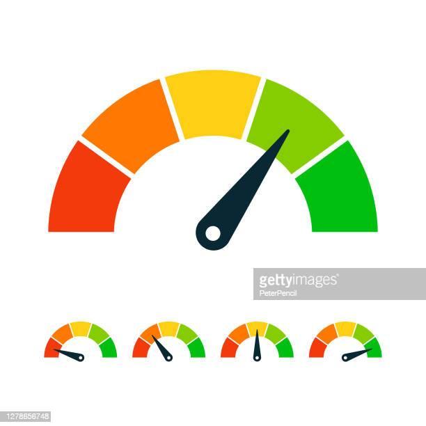 ilustraciones, imágenes clip art, dibujos animados e iconos de stock de conjunto de medidores de velocidad de clasificación - ilustración de vectores de stock - velocidad