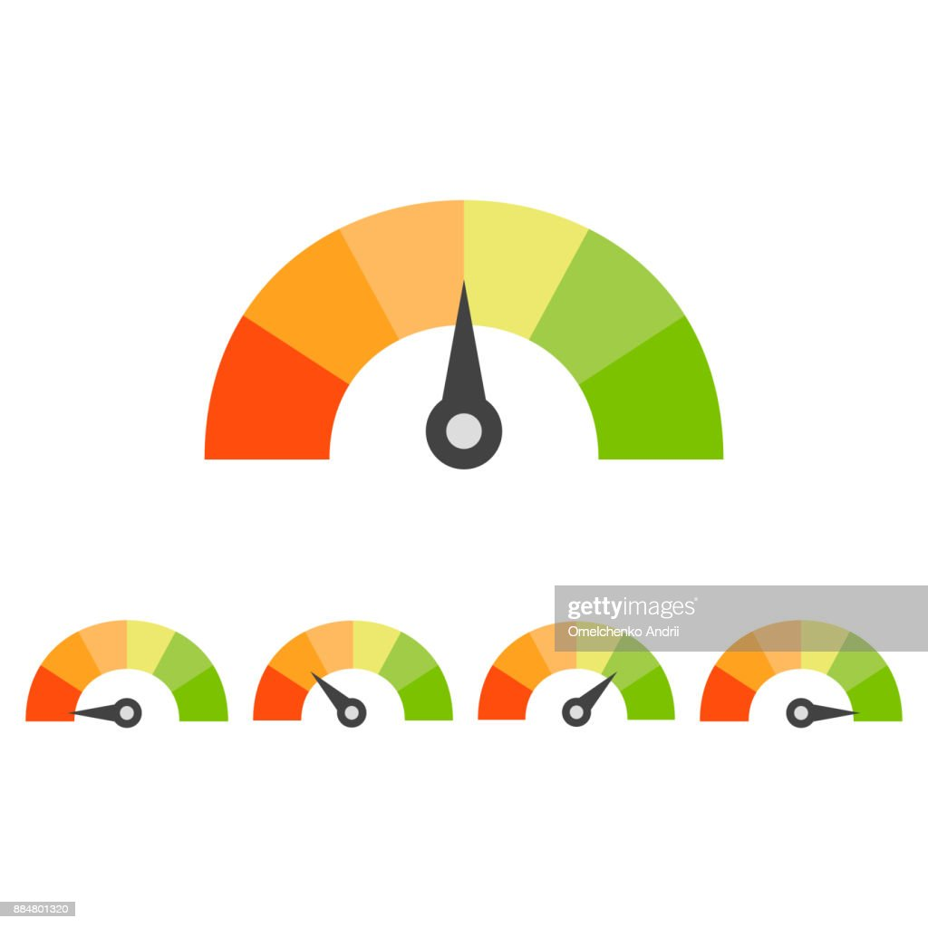 Rating speedometer set. Credit score concept