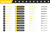 Rating stars badges. Feedback or Rating. Rank, level of satisfaction rating. Five stars customer product rating review. 5 star rating icon. Vector illustration.