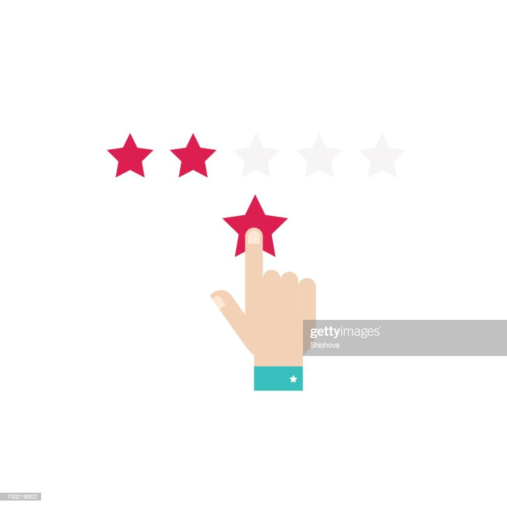 Rating stars. Hand with a red star.