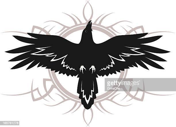 ilustraciones, imágenes clip art, dibujos animados e iconos de stock de raven tatuaje - cuervo