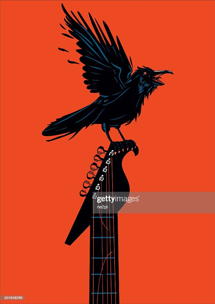 Raven with a guitar