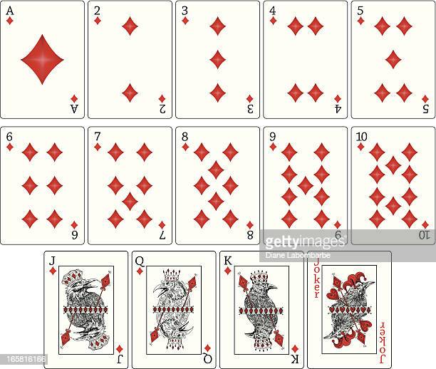 ravens playing cards - diamonds suit - joker card stock illustrations, clip art, cartoons, & icons