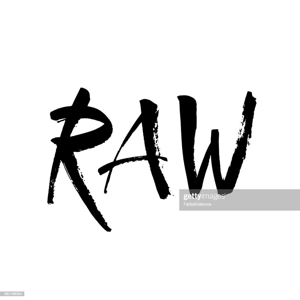 Raw lettering Label isolated. Raw tag black and white. Ink illustration. Modern brush calligraphy. Isolated on white background.