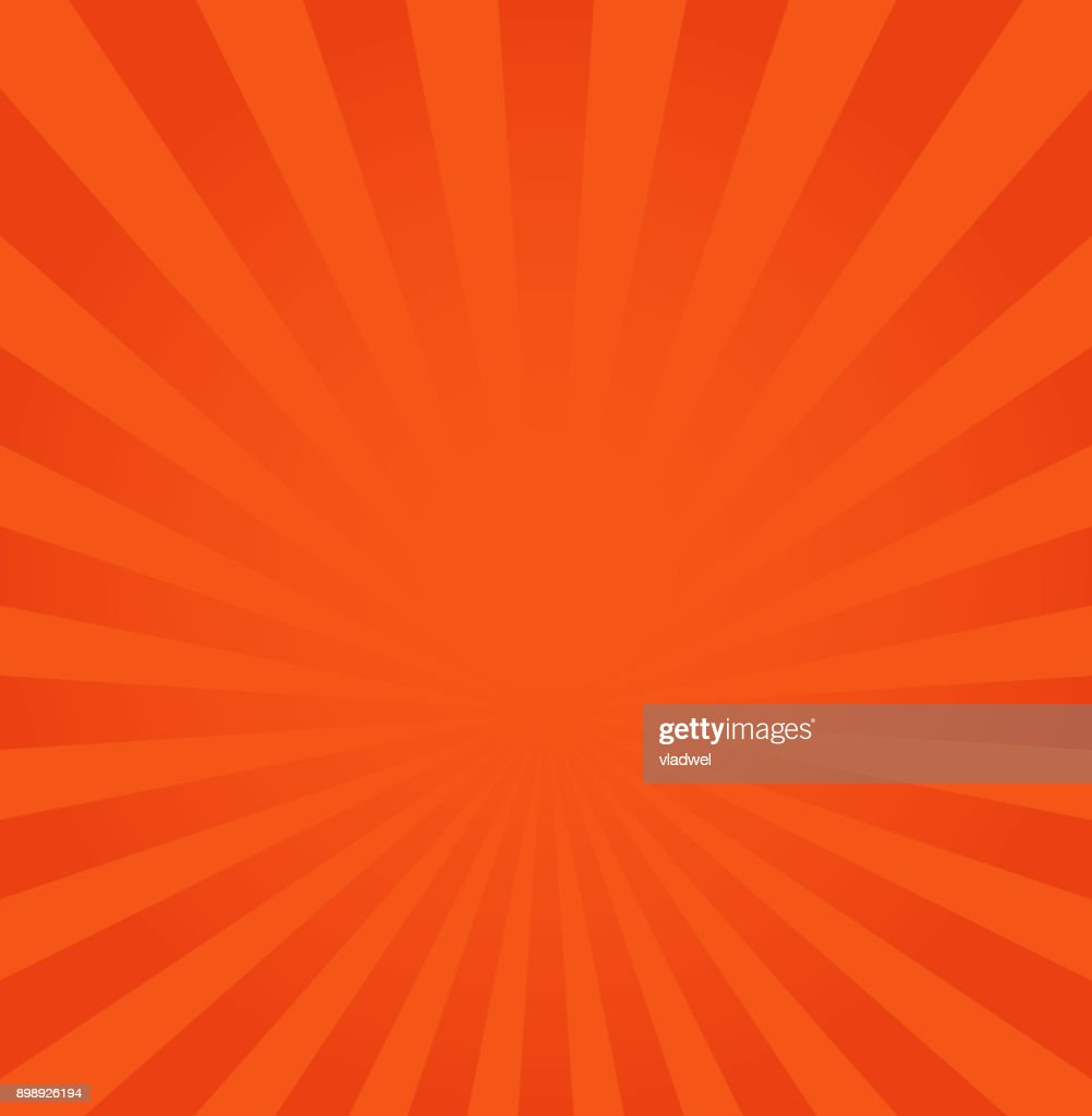 Rays background vector illustration, orange or red ray from center