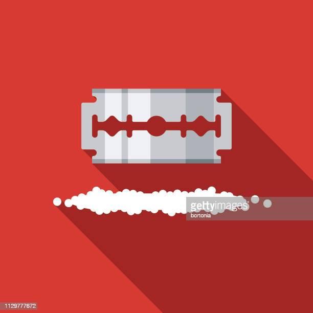 razor blade and cocaine drug icon - cocaine stock illustrations, clip art, cartoons, & icons