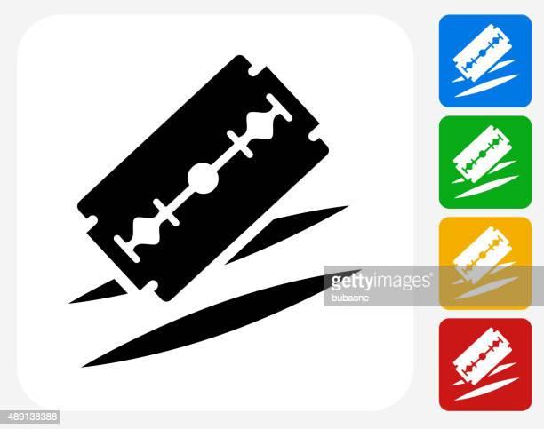 razor cuts icon flat graphic design - cocaine stock illustrations, clip art, cartoons, & icons
