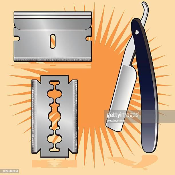 razors / blades - razor blade stock illustrations, clip art, cartoons, & icons