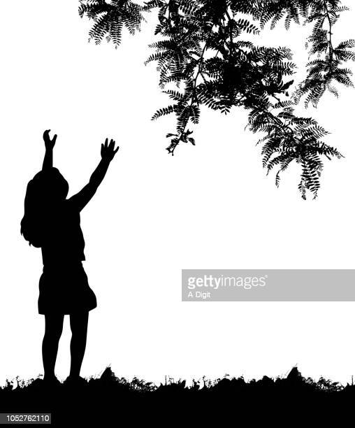 reach for the trees - reaching stock illustrations