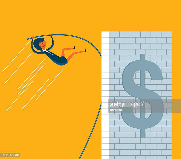 reach the limit - pole vault stock illustrations