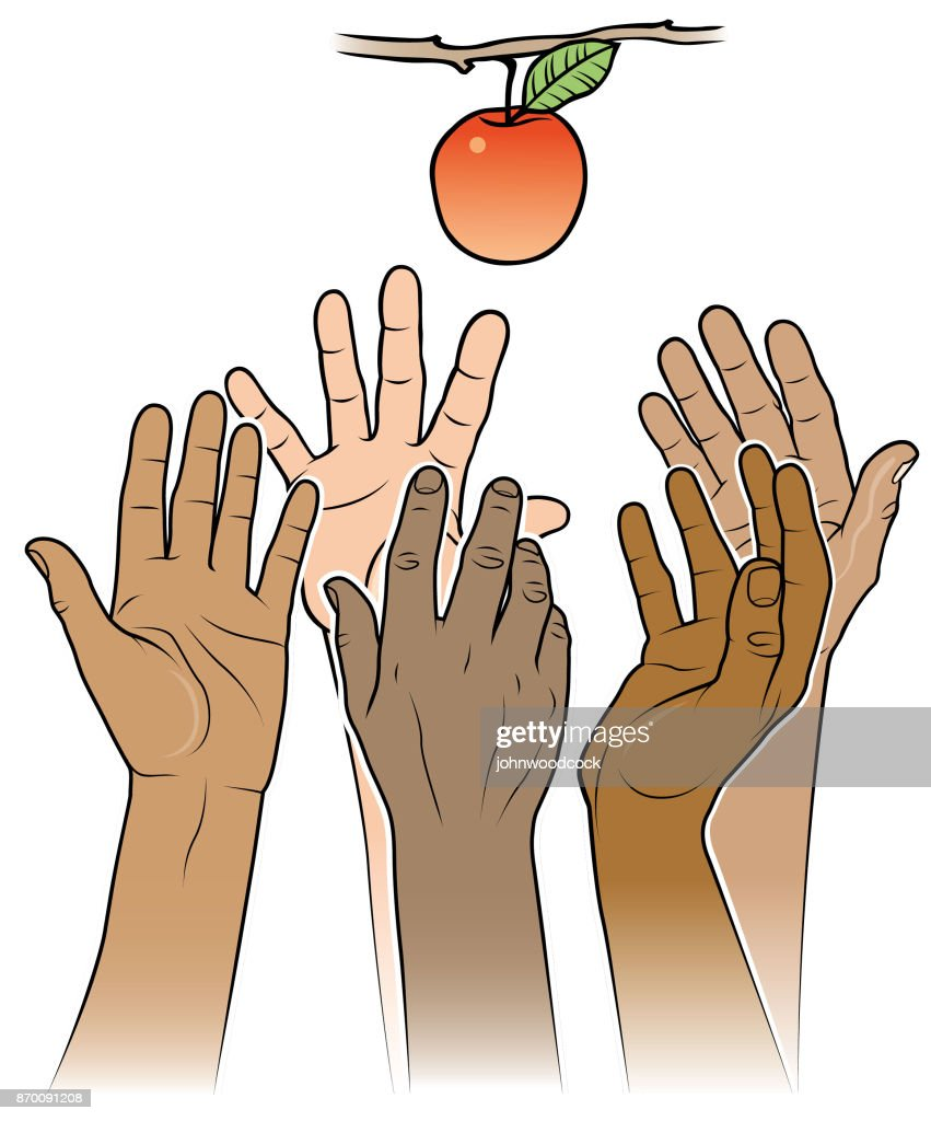 Reaching for an apple illustration
