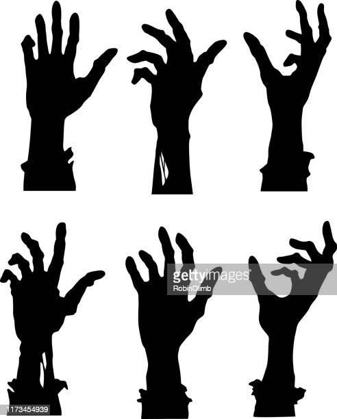 ilustraciones, imágenes clip art, dibujos animados e iconos de stock de alcanzando manos zombi - halloween