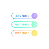 Read More colorful button set vector illustration.
