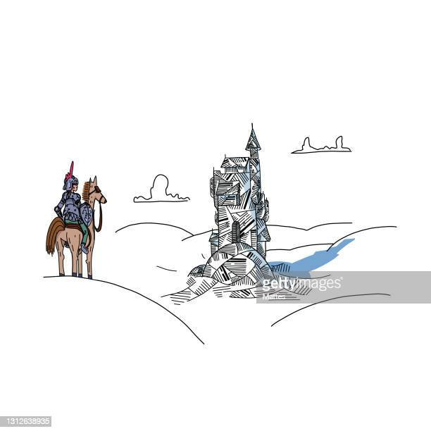 readers escaping into their books while reading stories, adventures and tales. knight on his brave horse approaching an enchanted castle. scene and adventure made of folded book pages and origami. - literature stock illustrations
