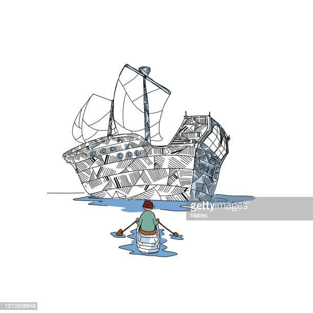 readers escaping into their books while reading stories, adventures and tales. brave hero rowing toward a large pirate boat. scene and adventure made of folded book pages and origami. - literature stock illustrations