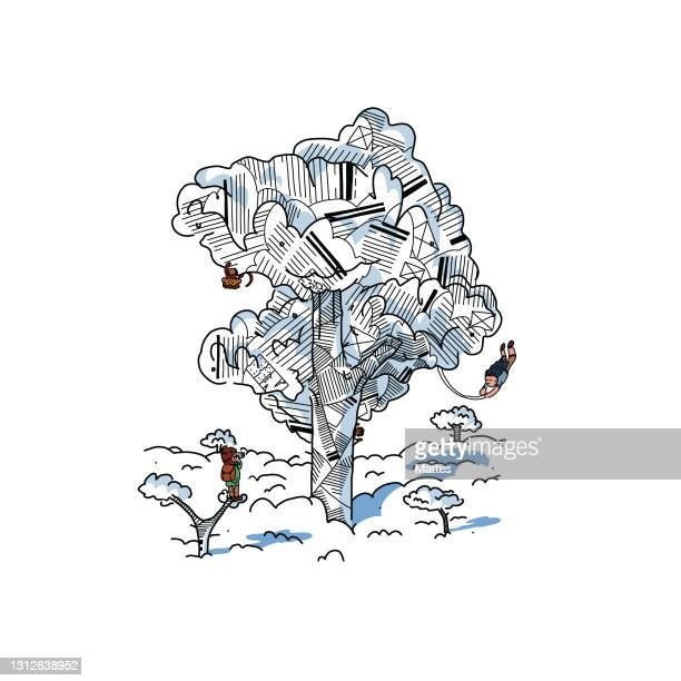 readers escaping into their books while reading stories, adventures and tales. adventurer observing a giant tree with wild monkeys and a person swinging around. scene and adventure made of folded book pages and origami. - literature stock illustrations