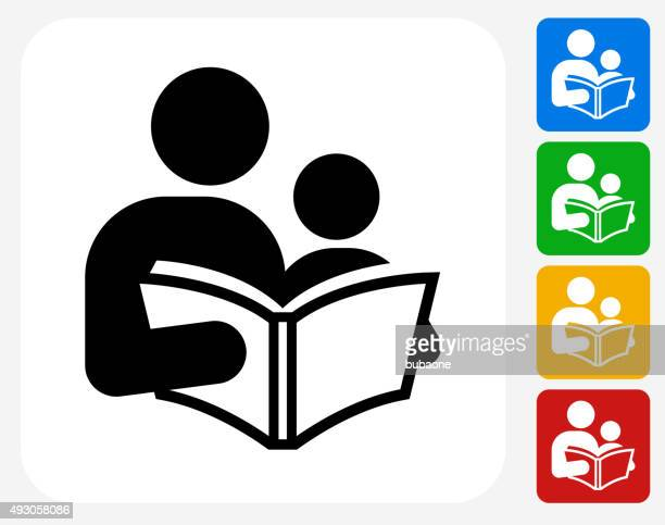reading and children icon flat graphic design - parent stock illustrations
