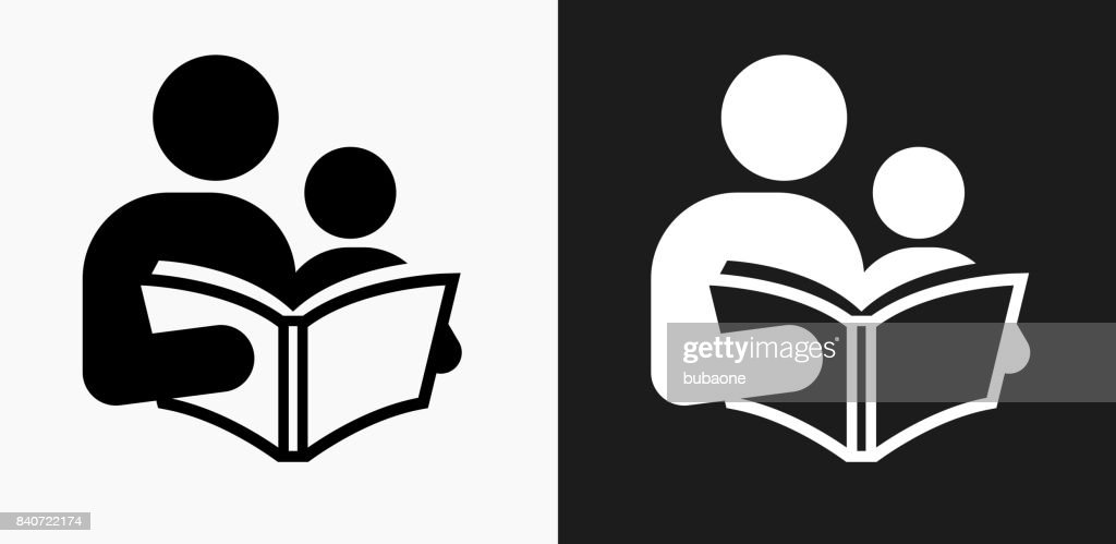 Reading and Children Icon on Black and White Vector Backgrounds : stock illustration