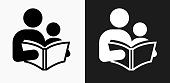 Reading and Children Icon on Black and White Vector Backgrounds