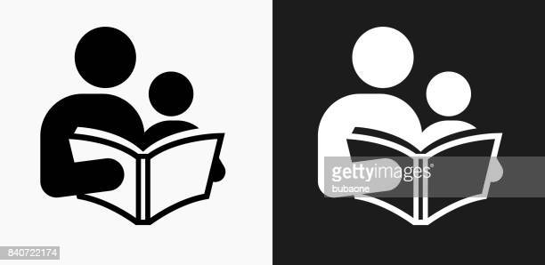 reading and children icon on black and white vector backgrounds - parent stock illustrations