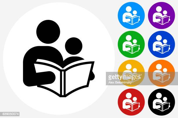 Reading and Children Icon on Flat Color Circle Buttons