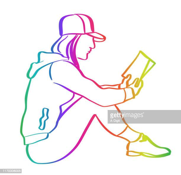 reading anytime anywhere rainbow - hooded top stock illustrations