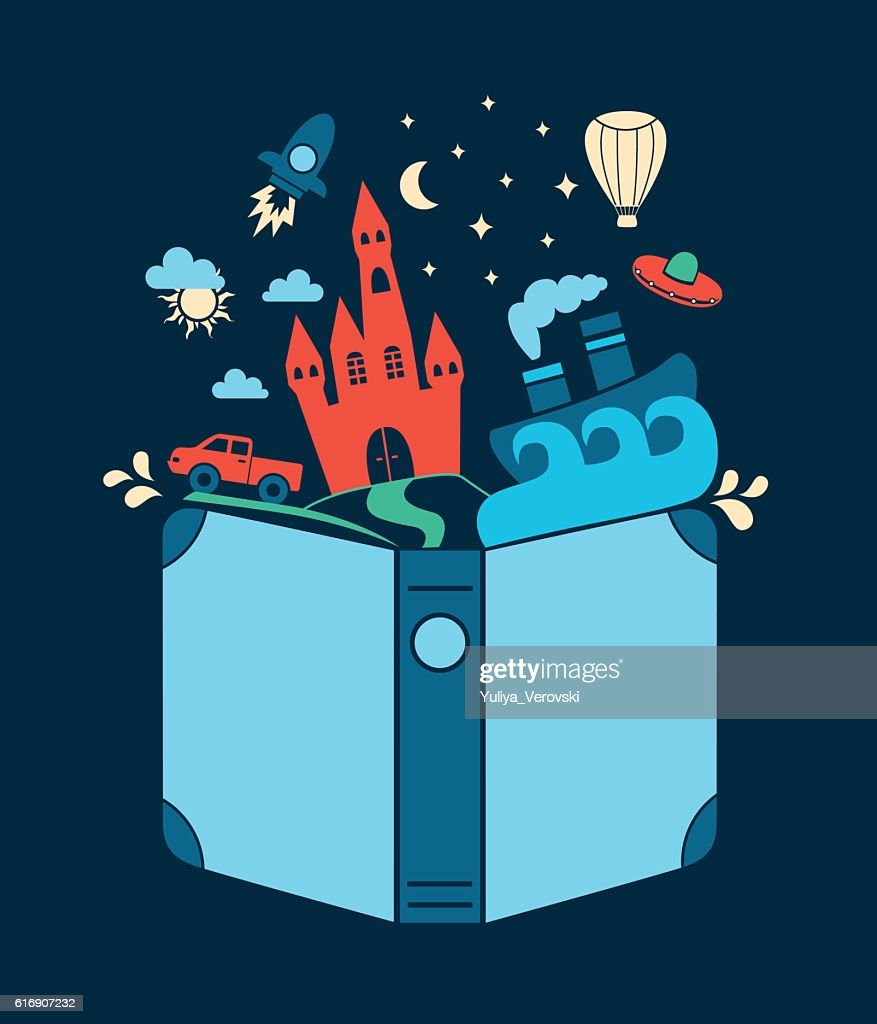 Reading book, imagination concept. Vector flat illustration : Vector Art