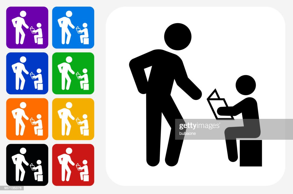 Reading Family Icon Square Button Set : stock illustration