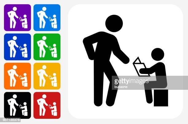 Reading Family Icon Square Button Set