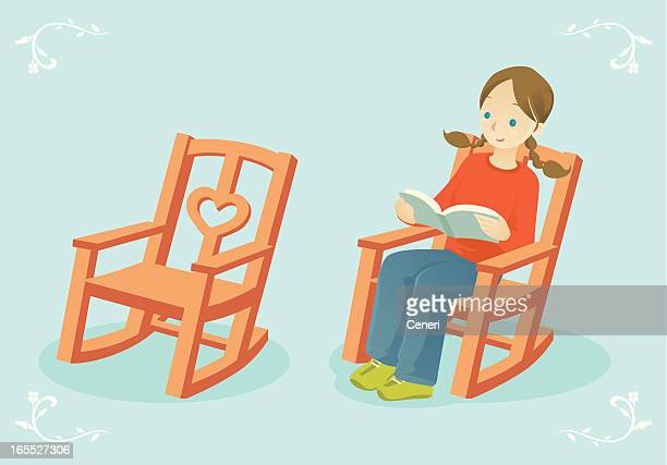 reading in a rocking chair - rocking chair stock illustrations