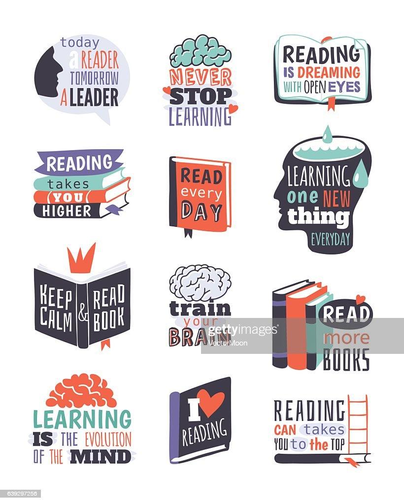 Reading motivation badge vector illustration.