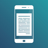 Reading online articles and news on mobile phone. Online books. Vector illustration in flat style isolated on white background. Isolated icon on gradient blue background