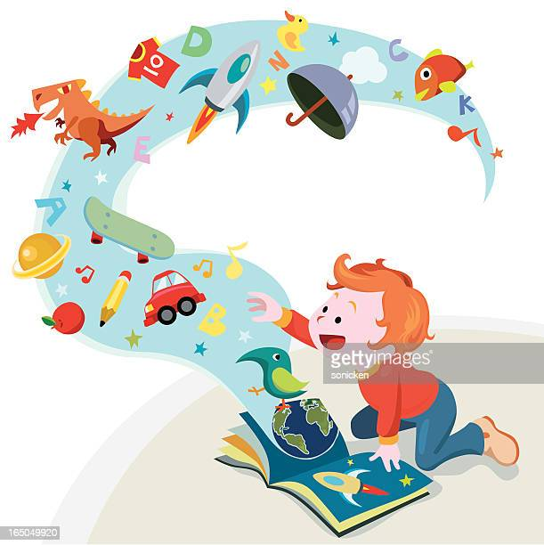 reading story book - childhood stock illustrations