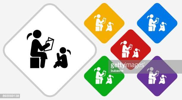 Reading to Children Color Diamond Vector Icon