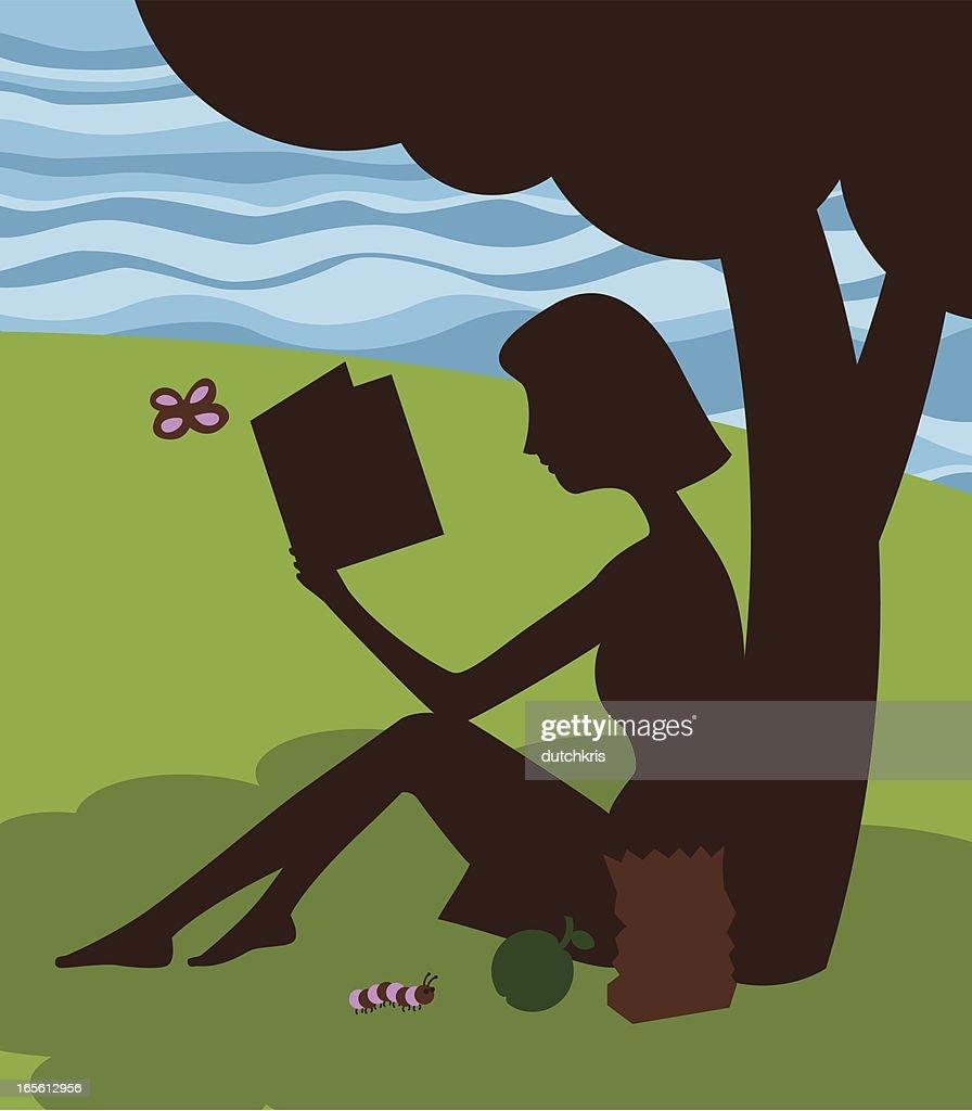reading underneath the apple tree