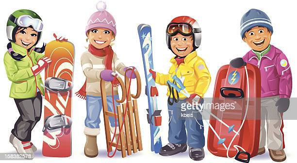 ready for the winter - tobogganing stock illustrations, clip art, cartoons, & icons