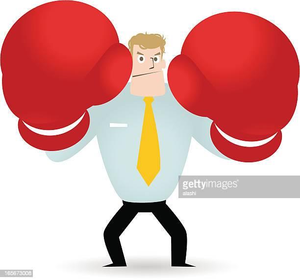 illustrations, cliparts, dessins animés et icônes de prêt à traiter, se battre homme d'affaires avec des gants de boxe - gant de boxe
