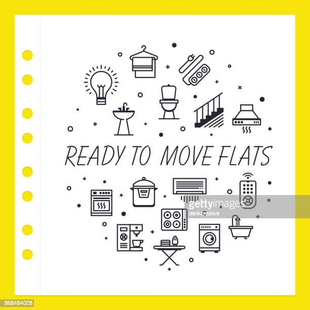 ready to move flats - showroom stock illustrations, clip art, cartoons, & icons