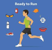Ready to run Vector Illustration. Running Gear for Man. Running accessories and Gadgets For Outdoor Cardio Workout.