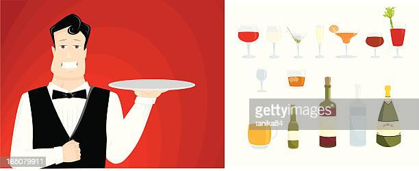 ready to serve - gin stock illustrations, clip art, cartoons, & icons